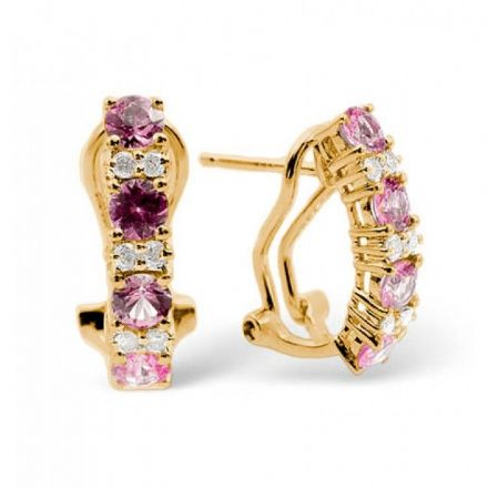 9K Gold 0.16ct Diamond & 1.15ct Pink Sapphire Earrings, F2138